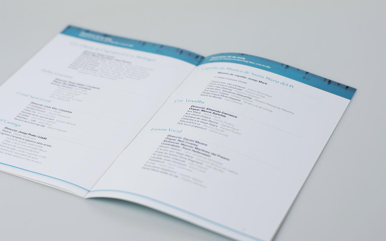 Doble página. Diseño editorial e identidad corporativa Maig Coral del Barcelonès