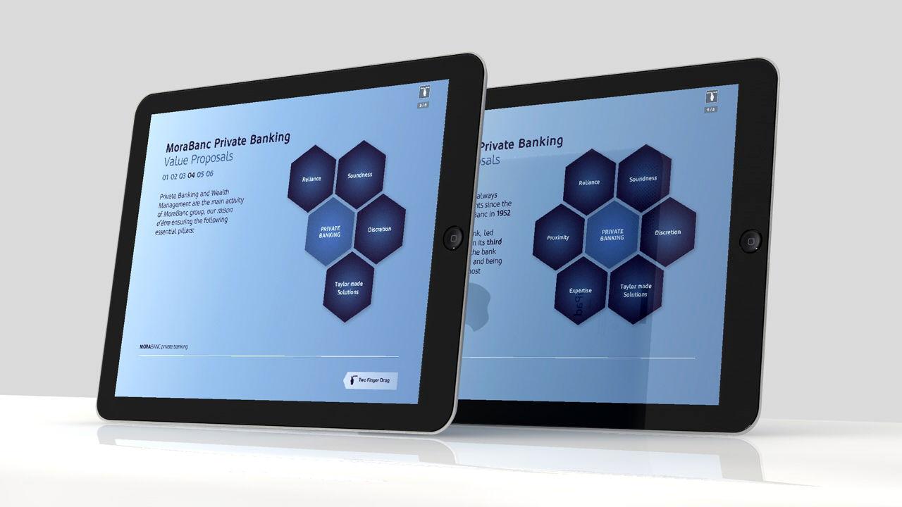 Pantallas. Diseño app Morabanc Private Banking