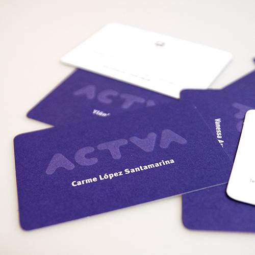tarjeta visita, diseño gráfico. actua
