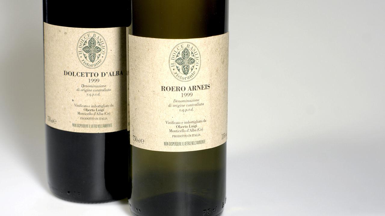 Etiquetas vino. Marca. Il Dolce Basilico