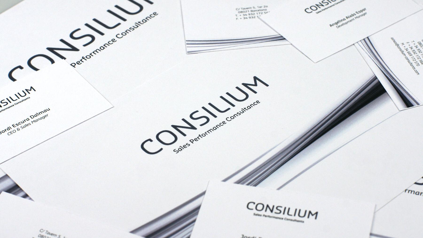 Tarjetas. Diseño identidad corporativa Consilium