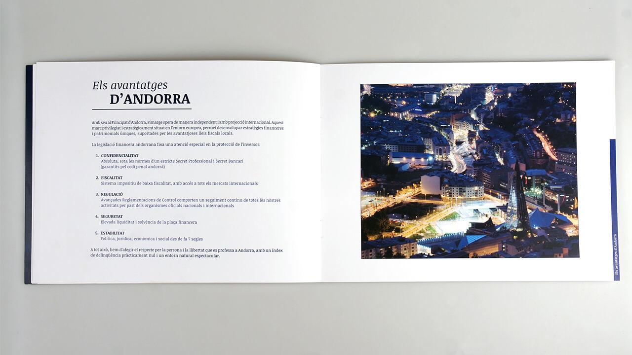 Diseño folleto Fimarge. Doble página