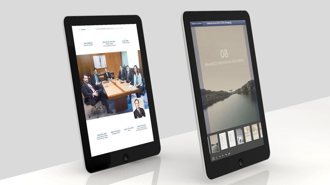 Pantallas. Diseño app Morabanc Memoria Anual