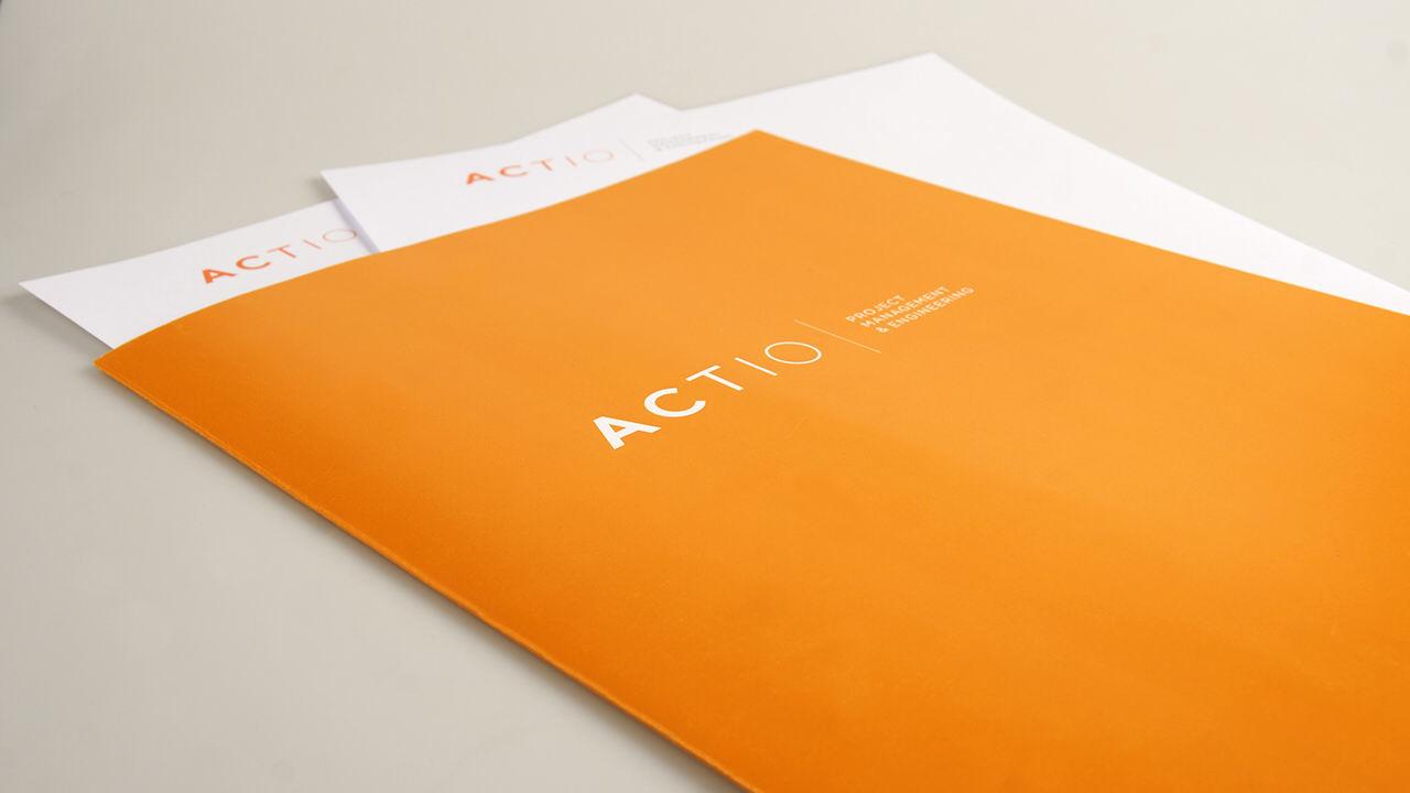papelería. diseño identidad corporativa. actio