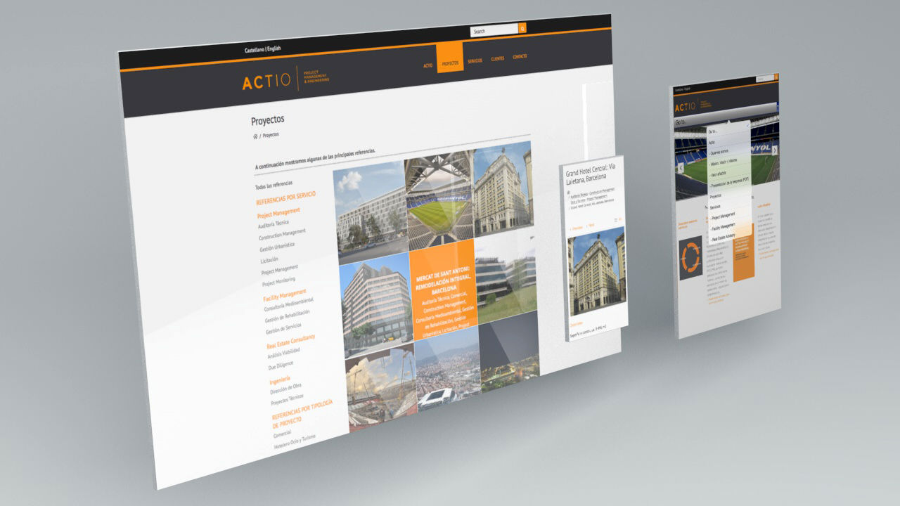 responsive. diseño web. actio