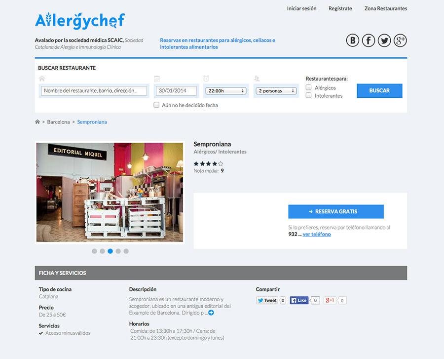 allergychef, diseño web