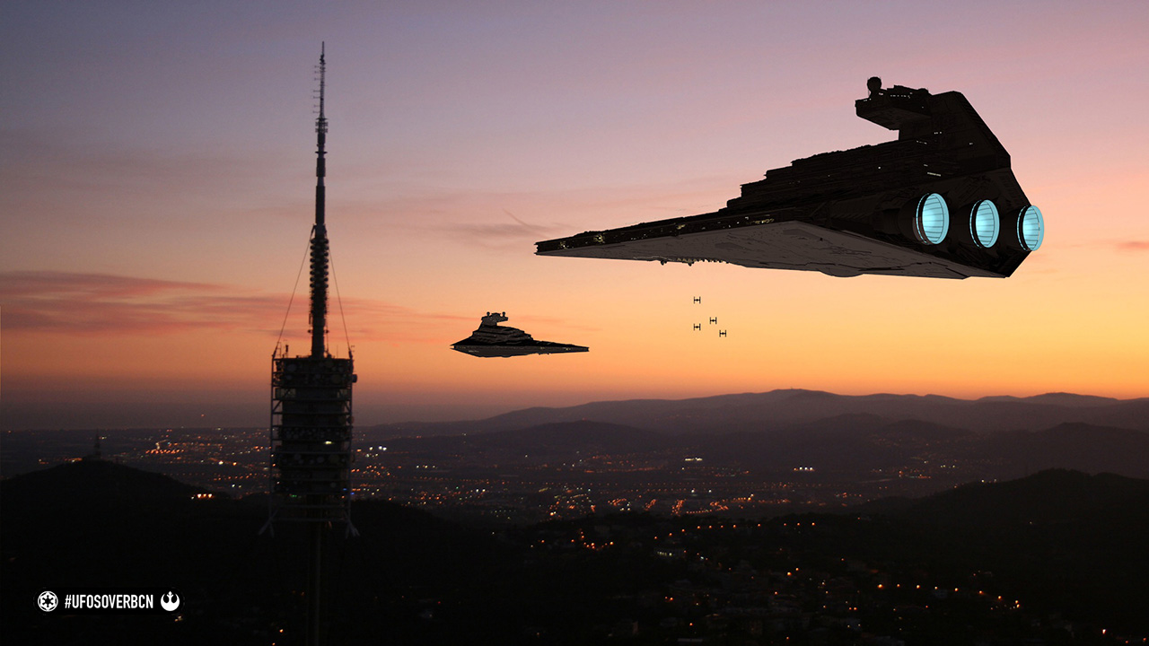 UFOs over Barcelona. Homenaje a Star Wars.