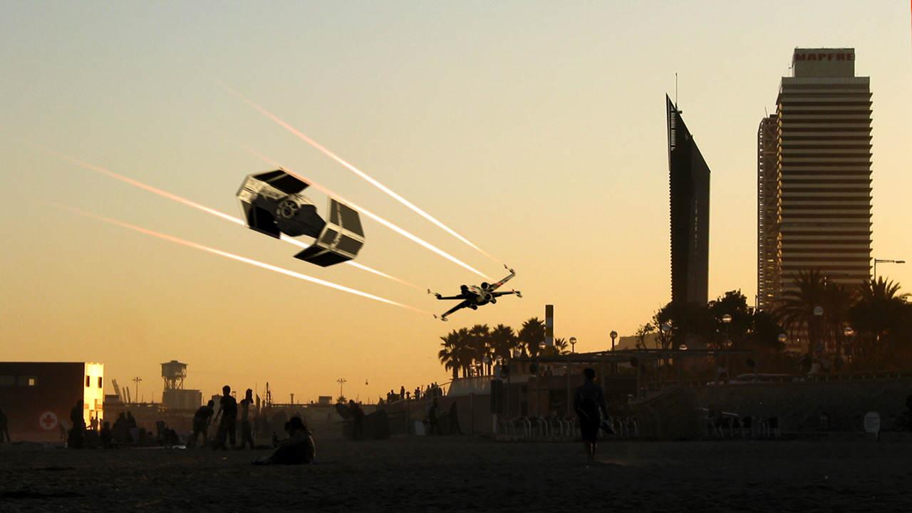 UFOs over Barcelona: beach dogfight