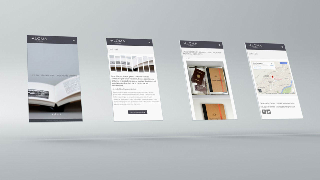 Diseño web Aloma Editors. Versión Móvil