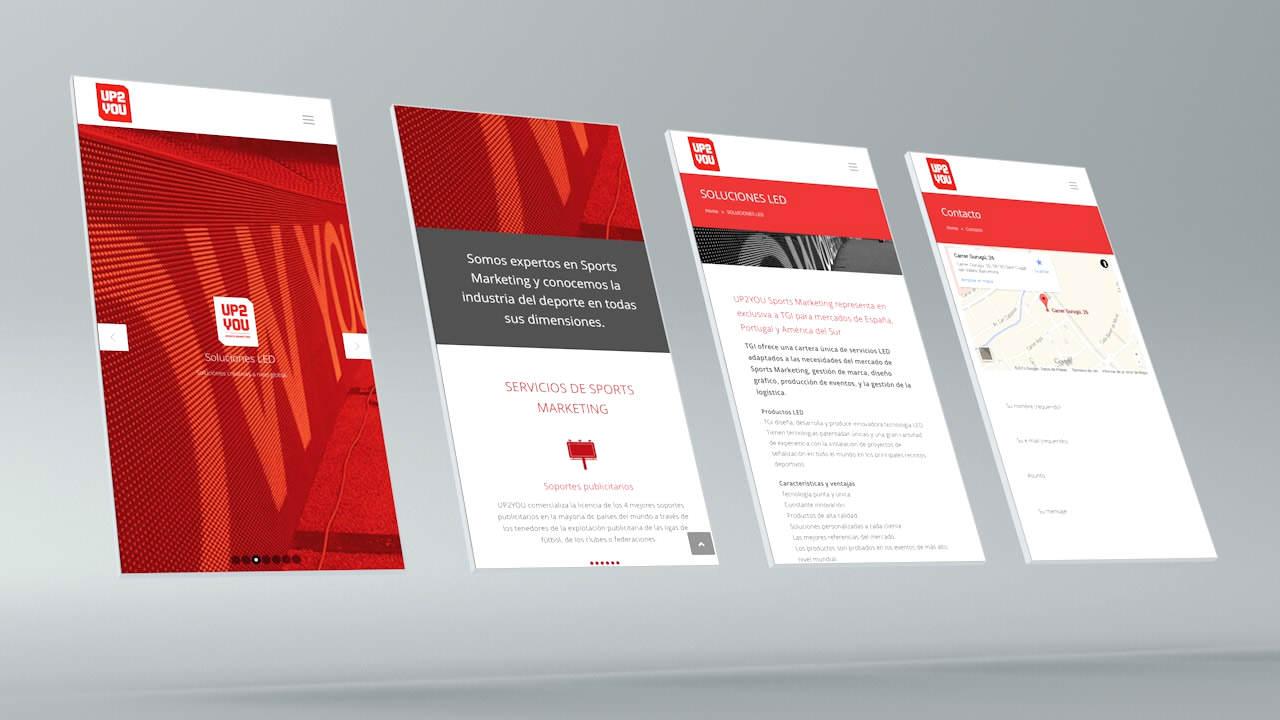 Diseño web UP2YOU. Versión móvil