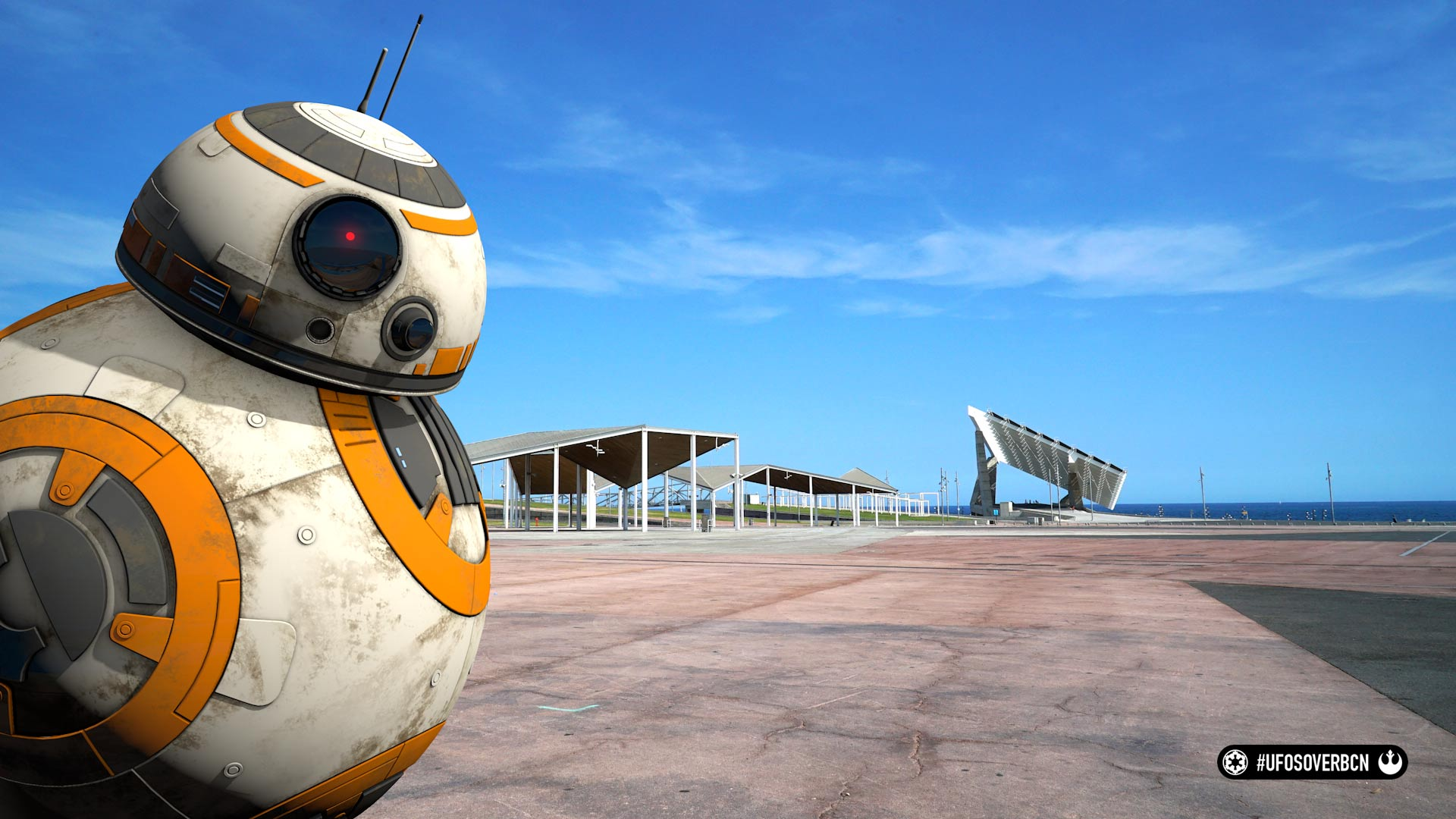 UFOs over Barcelona. Homenaje a Star Wars. Behind the scenes: BB8 en el Forum