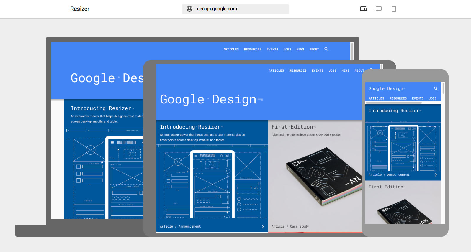 Google Resizer Responsive web tool