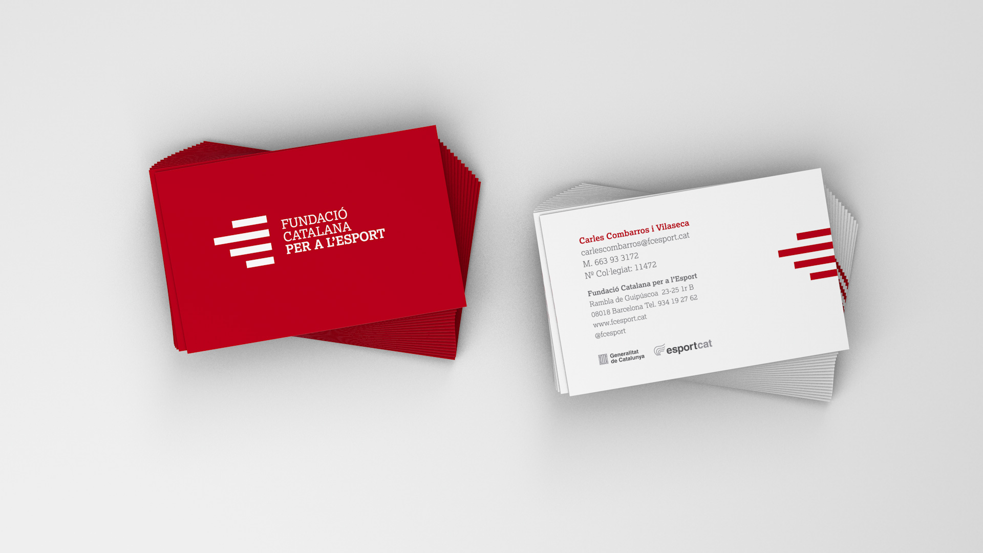 Diseño marca e identidad corporativa Fundació Catalana per a l'Esport - Tarjetas