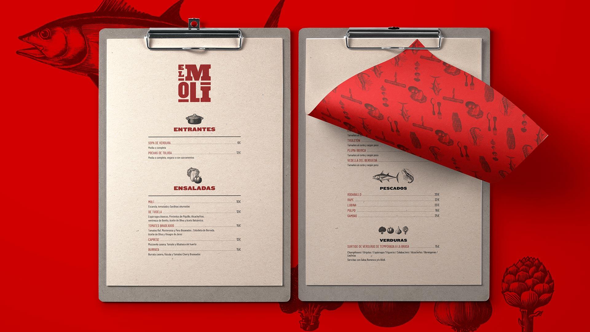 Diseño de marca y motion graphics El Moli Carta