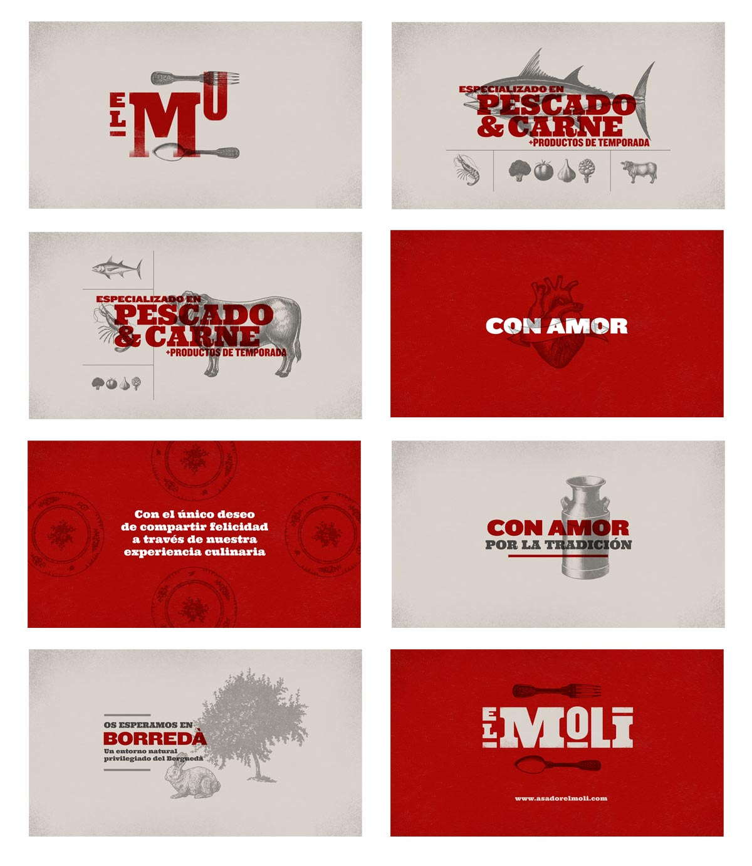 Diseño de marca y motion graphics El Moli storyboard